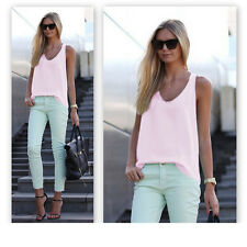 CA Womens Plain Sleeveless Tank Top Blouse Ladies Chiffon Camisole Vest Cami