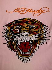 WOMENS ~ ED HARDY / TIGER ~ PINK / T-SHIRT / LARGE, EMBELLISHED, TAGS