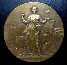 ART NOUVEAU BRONZE MEDAL BY ALPHEE DUBOIS (1831-1905) AWARDED IN 1912 (M.93)