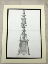 1857 Antique Architectural Print Bronze Pillar Verona Italy St Maria Large