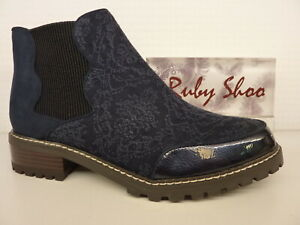 Ruby Shoo Ronni Navy Blue Womans Flat Inside Zip Chelsea Ankle Boot Shoe
