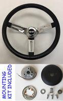 "Impala Chevelle Camaro Nova Black Chrome Spokes Steering Wheel 13 1/2"" SS Cap"