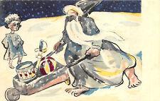 French Christmas Gray Blue Santa Claus Wheel Barrow Drum Ball Postcard