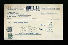LETTERE COMMERCIALI  STABILIMENTO TIPOGRAFICO MUTILATI CARPI 1940