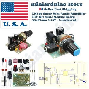 LM386 Super Mini Audio Amplifier  DIY Kit Board  35x37mm 3-12V - Unsoldered