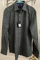 NWT $179 Bugatchi Shaped Fit Large Long Sleeve Cotton Shirt