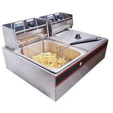 5000W Dual Tank Basket 12L Electric Deep Fryer Commercial Restaurant INCD VAT