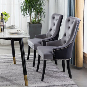 Upholstered 1/2/4x Velvet Dining Chair Patchwork Wing Knocker High Back Chairs