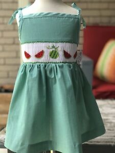 Beautiful hand smocked Watermelon Smocked Dress, new with tag, sfpfh