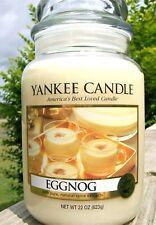 "Yankee Candle Retired ""EGGNOG""~ Large 22 oz ~ WHITE LABEL~ RARE ~ VHTF ~ NEW"