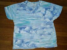 Women's Blue Abstract Cloud Scrubs Shirt Crest Cotton Medium medical nurse