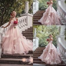 Custom New Pink Garden  Wedding Dress Bridal Gown Size 6 8 10 12 14 16 ++