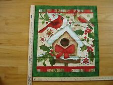 Christmas Cardinals Birdhouse Berries Holly  Cotton Quilt Fabric Panel