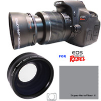 WIDE ANGLE + MACRO LENS FOR CANON EOS M200 MIRRORLESS  WITH 15-45MM LENS