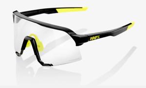 100% S3 Gloss Black Cycling Sunglasses, Photochromic Lens