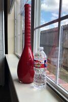 MIKASA Rare Onion Long Neck Hand Blown Cased Glass Pontil Mark Red Vase