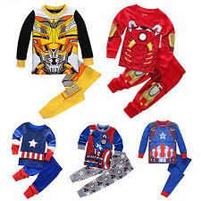 Boys Marvel Cartoon Sleepwear Toddler Kids Nightwear Pj's Pajamas Pyjamas Outfit
