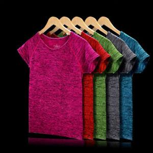 New Women Lady Gym Sports Shirt Yoga Top Fitness Fashion Running T-Shirt JD ZT