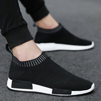 Mens Sneakers Trainers Slip On Sock Walking Casual Runners Comfy Knit Gym Shoes