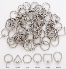 6 Pair Wholesale 14g 316L Unique Shaped Captive Ear Nipple Hoops Rings 2 of Each