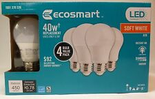 4 Pack EcoSmart 40W Equivalent Soft White A19 Dimmable LED Light Bulbs