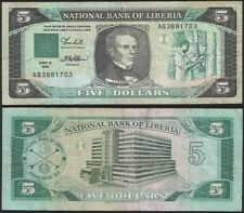 LIBERIA 5 Dollars, 1989, P-19, World Currency Banknote