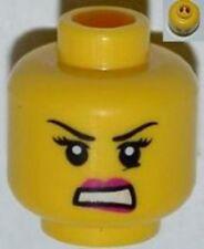 LEGO - Minifig, Head Female w/ Pink Lips, Black Eyelashes & Angry Eyebrows