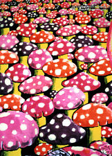 MUSHROOMS Psychedelic Art UV Black Light Postcard Glow-In-The-Dark Neon Fluoro