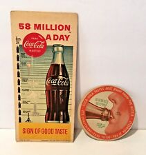 COCA COLA 1950'S TASTES BEST RIGHT FROM THE BOTTLE COASTER & COCA COLA BLOTTER