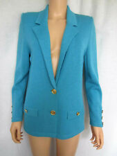 Frances Brewster Knit Blazer Jacket Turquoise Small Wool & Viscose