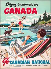 Enjoy Summer in Canada Vintage Canadian Travel Advertisement Art Poster Print