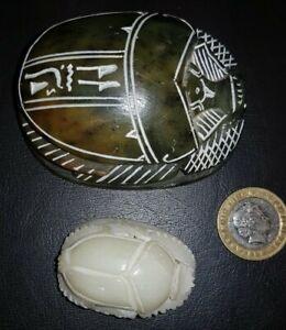 Two Soapstone Scarab Beetles