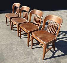 Set of 4 Vintage Lawyer Banker Walnut Desk Arm Chairs Gunlocke Sikes style
