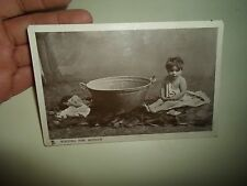 Vintage RPPC Waiting For Mother Old Tin Bath & Baby Tucks Glosso Franked 1906