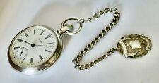 Rare Antique 1901 WALTHAM Stg Silver 18s Pocket Watch On Stg Chain & Shield Fob