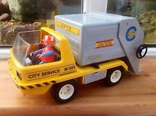 Vintage Playmobil 3780 Refuse Dustbin Truck Lorry And Figure