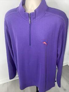 Brand New Tommy Bahama ISLANDZONE Purple 1/4 Zip Pullover Shirt Men's Sz XL