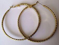 boucles d'oreilles percées bijou couleur or anneaux  créoles grande taille 3422