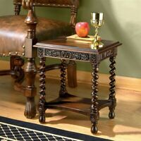Camberwell Manor Medieval Petite Design Toscano Hand Carved Mahogany Side Table