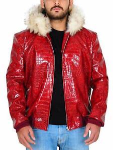 Fur Hoodie Red Crocodile Pattern Leather Jacket