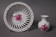 Herend Apponyi purpur Korb # 7371 / AP & kleine Vase # 7193 / AP Goldrand