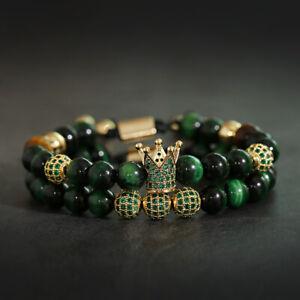 2Pcs/Set Luxury Men Women Green Tiger Eye King Crown CZ Ball Couple Bracelets