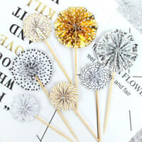 4Pcs/lot Paper Fan Cake Topper Cupcake Toppers Birthday Wedding Favor Supplies!
