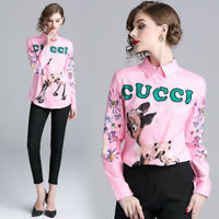 2019 Spring Summer Fall Letters Print Women Casual Long Sleeve Shirts Top Blouse