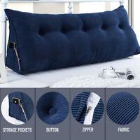 Triangular Wedge Reading Lumbar Pillow Backrest Cushion Bolster Soft Headboard