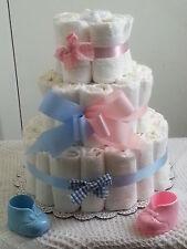 3 Tier Diaper Cake Pink Blue Baby Shower Centerpiece Boy Girl Twin Gender Reveal