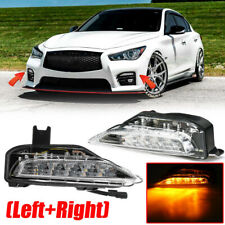 Front Bumper LED Fog Light Turn Signal Lamp Amber For Infiniti Q50 Sport 14-19