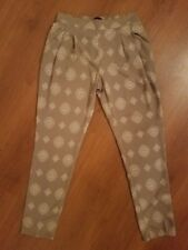 NWT Fab'rik Printed Harem Pants Tan Cream size Small MSRP $46 Pockets Polyester