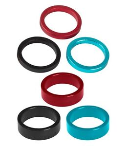 """ACCENT Headset Spacers 1 1/8"""", 5 mm & 10 mm Aluminum Alloy Black, Blue, Red"""