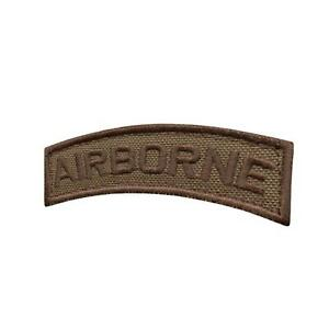 airborne shoulder tab coyote tan US army military morale parche hook patch